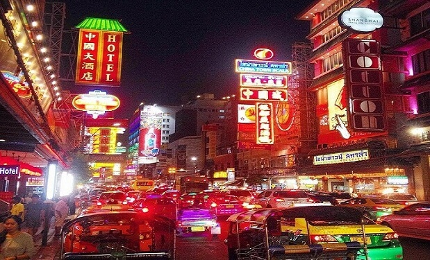 Chinatown MArket and bright lights at night time