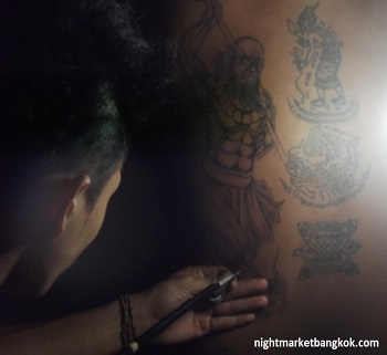 Original Bamboo Tattoo being done at Saphan Phut Night Market