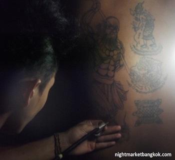 Original Bamboo Tattoo being done at Saphan Phut Night Market